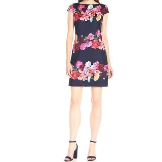 Vince Camuto NEW Dark Blue Womens Size 6 Floral-Stripe Sheath Dress