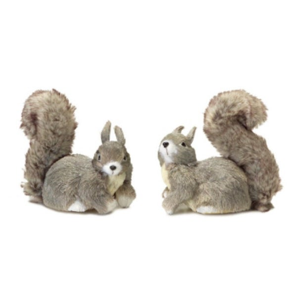 """Pack of 6 Gray and White Shimmering Sisal Squirrel Christmas Tabletop Decorations 6"""""""