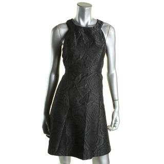 Calvin Klein Womens Petites Cocktail Dress Jacquard Satin