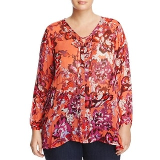 Lucky Brand Womens Plus Blouse Sheer Floral Print - 1x