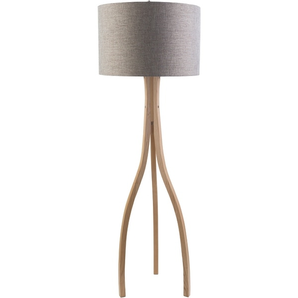 Contemporary Alton Floor Lamp with Natural Finish Wood Base. Opens flyout.