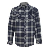 Burnside Yarn-Dyed Long Sleeve Flannel Shirt - Navy/ Grey - M