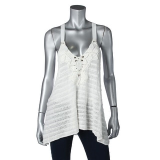 Free People Womens T-Back Beaded Pullover Top