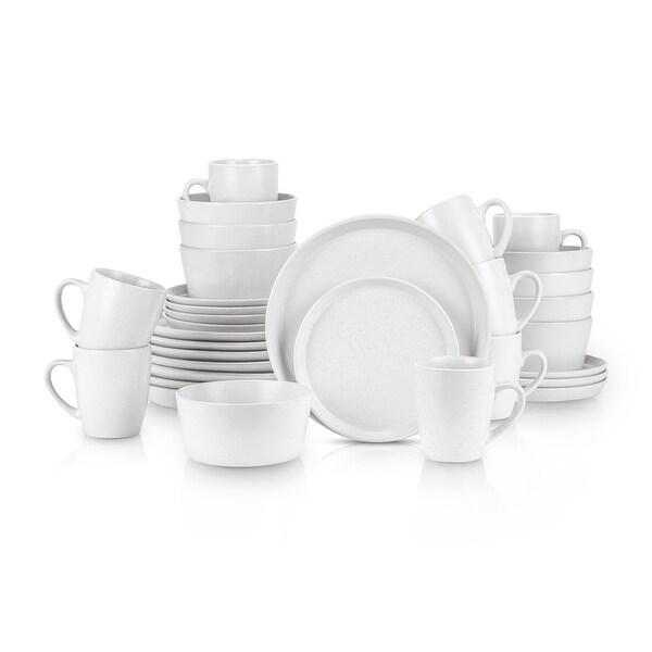 Stone Lain 32 Piece Glaze Stoneware Round Dinnerware Set, Snow White. Opens flyout.