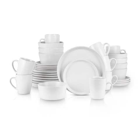 Stone Lain 32 Piece Glaze Stoneware Round Dinnerware Set, Snow White