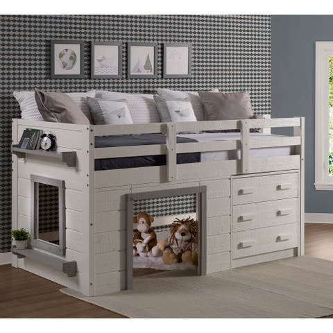 Sweet Dreams Twin-size White/Grey Low Loft Bed
