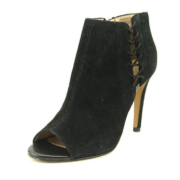 French Connection Quincy Women Peep-Toe Suede Black Bootie
