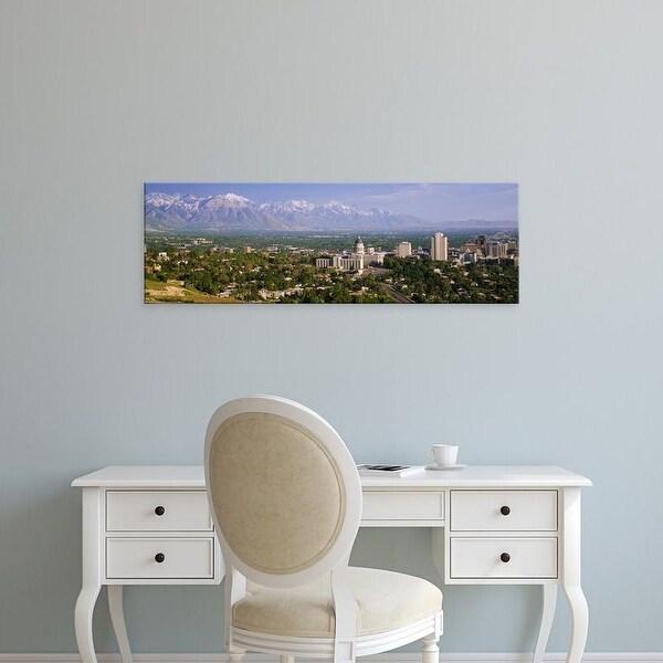 Easy Art Prints Panoramic Images's 'High angle view of a city, Salt Lake City, Utah, USA' Premium Canvas Art