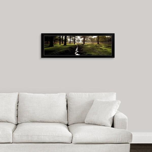 """Stream passing through a park, Richmond Park, London, England"" Black Framed Print"