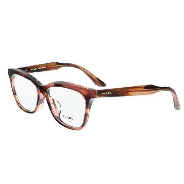 24b0f0f140 Prada PR 24SV UEO1O1 55 Striped Brown Cateye Journal Optical Frames - 55-16