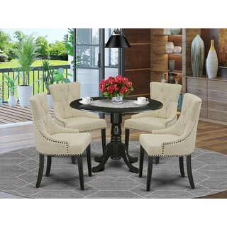 Link to Round Small Table and Parson Chairs in Brown Linen Fabric (Number of Chairs Option) Similar Items in Dining Room & Bar Furniture
