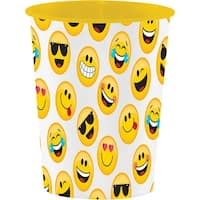 "Club Pack of 12 Yellow and White ""Show Your Emojis"" Keepsake Cups 4.5"""