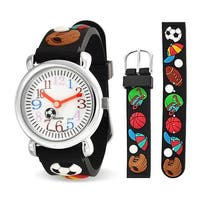 Bling Jewelry Black Analog Rubber Sports Kids Watch Stainless Steel Back