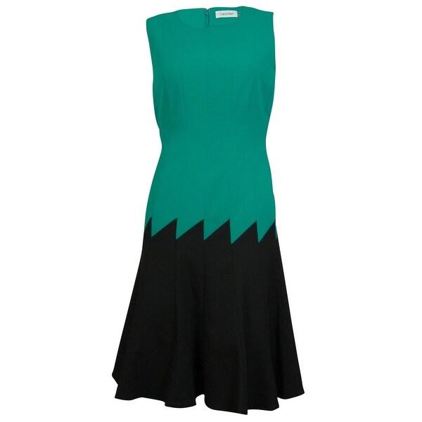 Calvin Klein Women's Colorblocked Seamed Flared Dress - evergreen/black - 4