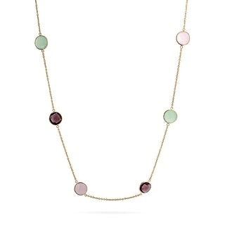 Bling Jewelry Pink Chalcedony Station Necklace .925 Silver