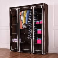 Costway 70'' Portable Closet Storage Organizer Clothes Wardrobe Shoe Rack W/Shelves Brown