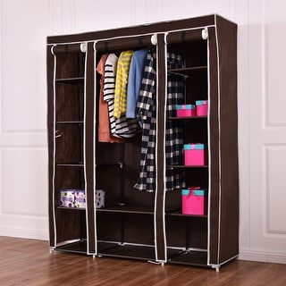 costway portable closet storage organizer clothes wardrobe shoe rack w shelves brown
