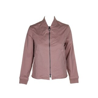 Barbour Blush Pink Zip-Up Bibbed-Trim Bomber Jacket - 4