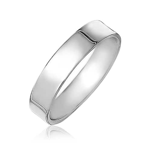 Plain Simple 925 Sterling Silver Flat Couples Wedding Band Ring 4MM