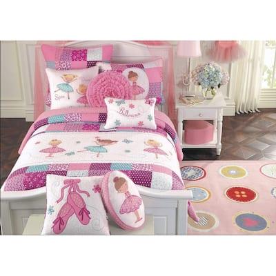 Cozy Line Ballerina Pink Girls Reversible Cotton Quilt Set with Decorative Pillows