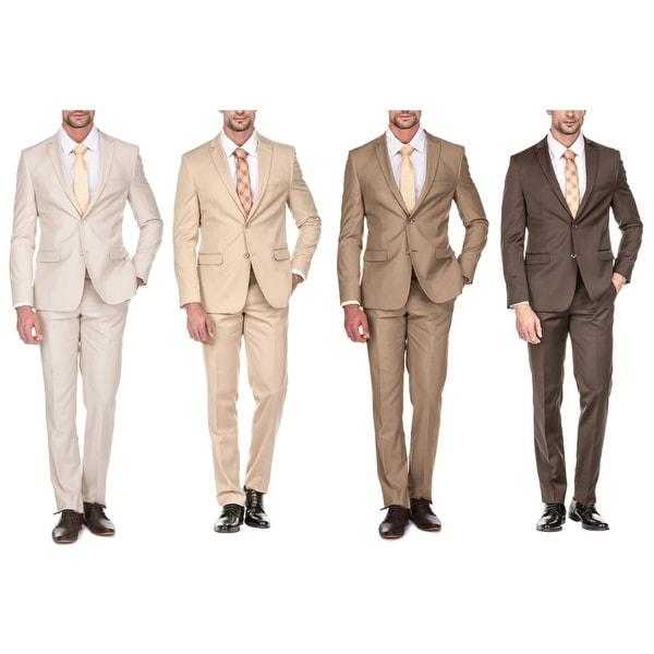 fc4bde6821 Shop Porto Filo Men's 2 Piece Slim Fit Suit (Brown, Tan, Bone, Beige ...
