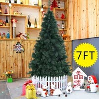 Costway 7Ft Artificial PVC Chrismas Tree W/Stand Holiday Season Indoor Outdoor Green
