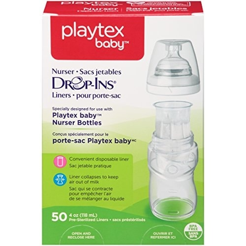 Playtex Drop-Ins BPA-Free Bottle Liners for Playtex Nurser Bottles - 4 Ounce - 50 Count