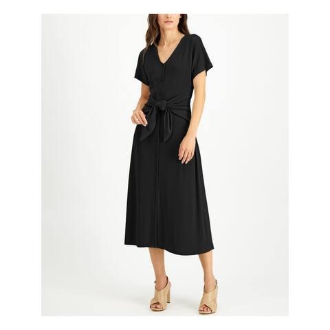 ALFANI Womens Black Solid Short Sleeve Below The Knee Dress Size M