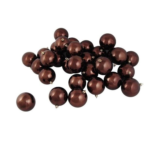 "60ct Shiny Chocolate Brown Shatterproof Christmas Ball Ornaments 2.5"" (60mm)"