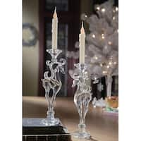 "Pack of 4 Icy Crystal Decorative Christmas Deer Taper Candle Holders 12.8"" - CLEAR"