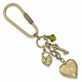Brass Green Crystal Multi-Charm and Locket Key Ring