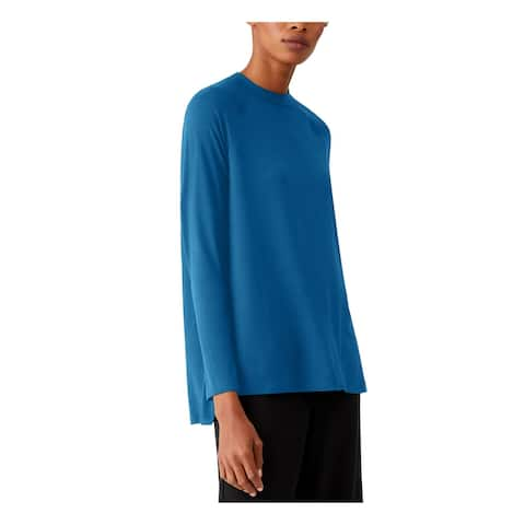 EILEEN FISHER Womens Blue Long Sleeve Crew Neck Top Size PM