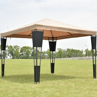Costway Outdoor 10'x10' Rattan Wicker Gazebo Canopy Tent Shelter Awning W/Brown Cover