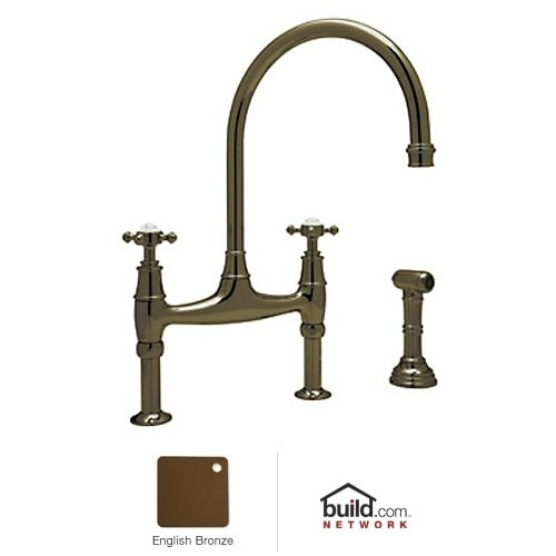 Rohl U.4718X-2 Perrin and Rowe High-Arc Bridge Kitchen Faucet with Side Spray