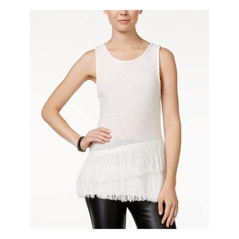 BAR III Womens Ivory Sleeveless Jewel Neck Trapeze Sweater Size M