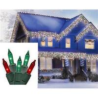 Red and Green Mini Icicle Christmas Lights - White Wire