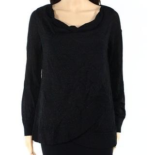 INC NEW Gold Womens Size Small S Metallic Draped Cowl Neck Sweater ...