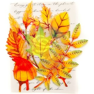 Prima Marketing Printed Fabric Leaf Embellishments 12/Pkg-Autumn Maple