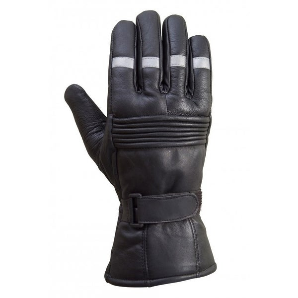 Motorcycle Biker Riding Winter Sheep Leather Gloves Reflective Striping Black G6