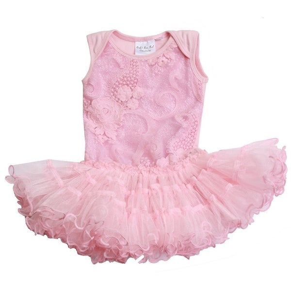 Ooh! La La! Couture Baby Girls Pink Bodysuit Pouffer Flower Girl Dress