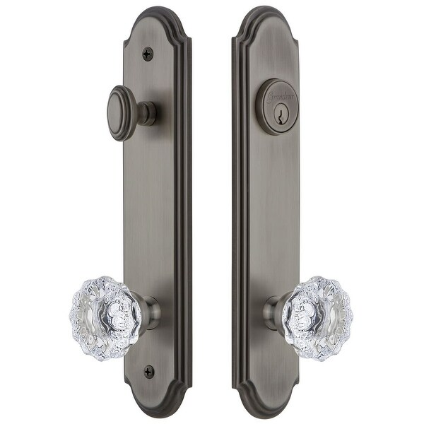 Grandeur ARCFON_TP_ESET_238 Arc Solid Brass Tall Plate Single Cylinder Keyed Entry Set with Fontainebleau Crystal Knob and