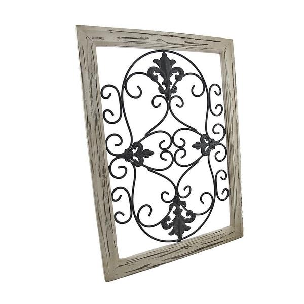 Shop Distressed Wooden Tan Frame Wrought Iron Fleur De Lis Wall
