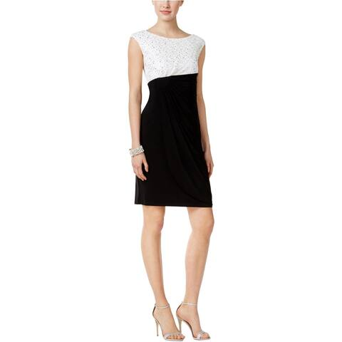 Connected Womens Sequined Lace Sheath Dress, black, 10