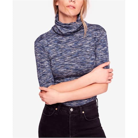 Free People Womens Dyed Turtleneck Pullover Blouse