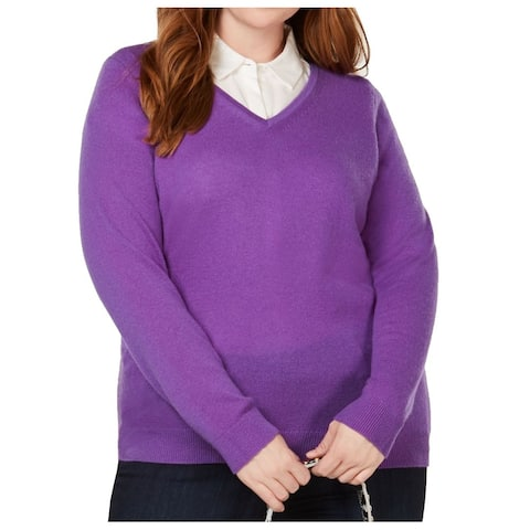 Charter Club Women's Sweater Purple Size 3X Plus V-Neck Cashmere