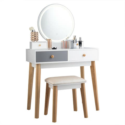 Vanity Set Makeup Dressing Table with 4 Drawers