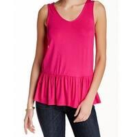 West K NEW Pink Women's Size Medium M Peplum Hem Scoop Neck Knit Top