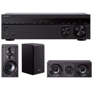 Sony STRDH590 5.2ch 4K AV Receiver with Bookshelf and Center Channel Speakers