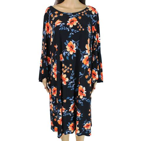 Lauren by Ralph Lauren Women's Dress Blue Size 20W Plus Shift Floral