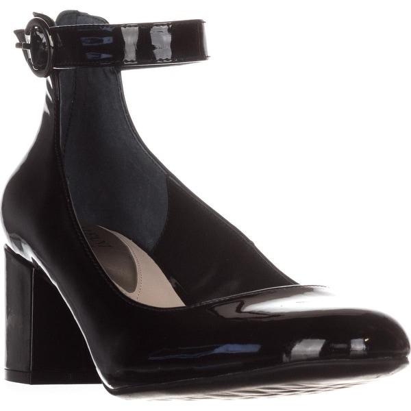 A35 Ashiaa Ankle Strap Pumps, Black Patent - 10.5 us